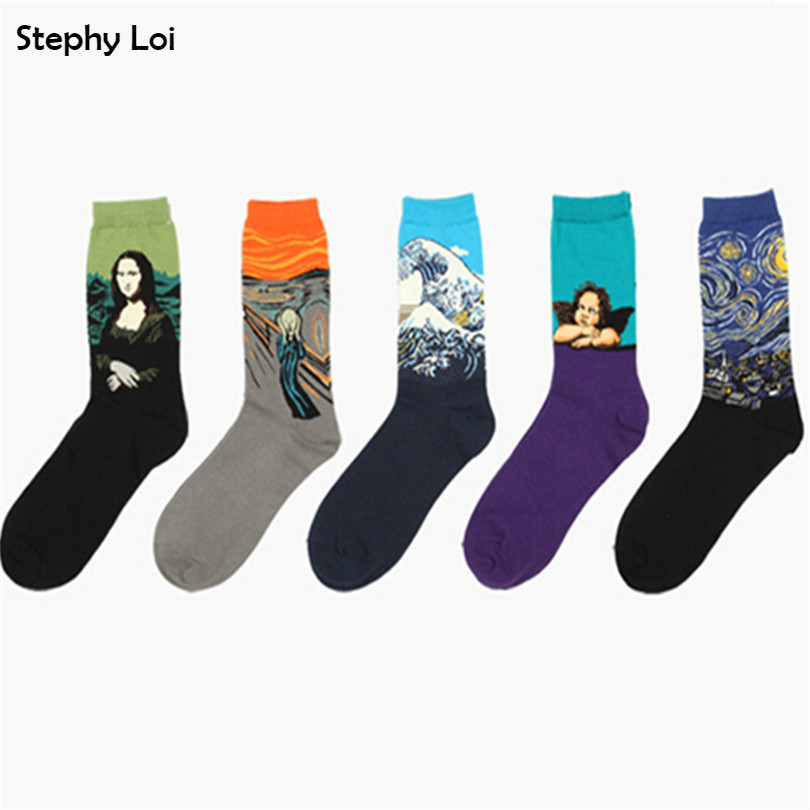 Free Shipping Art Cotton Men Socks Fall Winter Of Fashion Oil Painting Monalisa Pattern Hovelty Casual Contrast Color Size 36-44