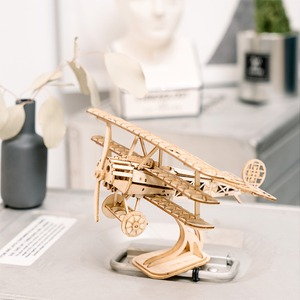 Image 3 - Robotime DIY 3D drewniane Puzzle zabawki montaż zabawki modele samolot Merry Go okrągły diabelski młyn zabawki dla dzieci Drop Shipping