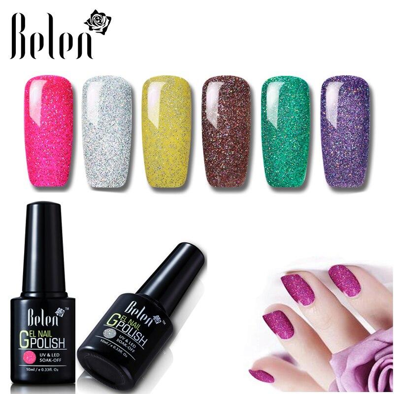 564bd018cd376c Belen 10 ml Bling Glitter nails polski Semi stałe długotrwałe profesjonalny lakier  hybrydowy malarstwa szczęście lakier baza Top w Belen 10 ml Bling Glitter  ...
