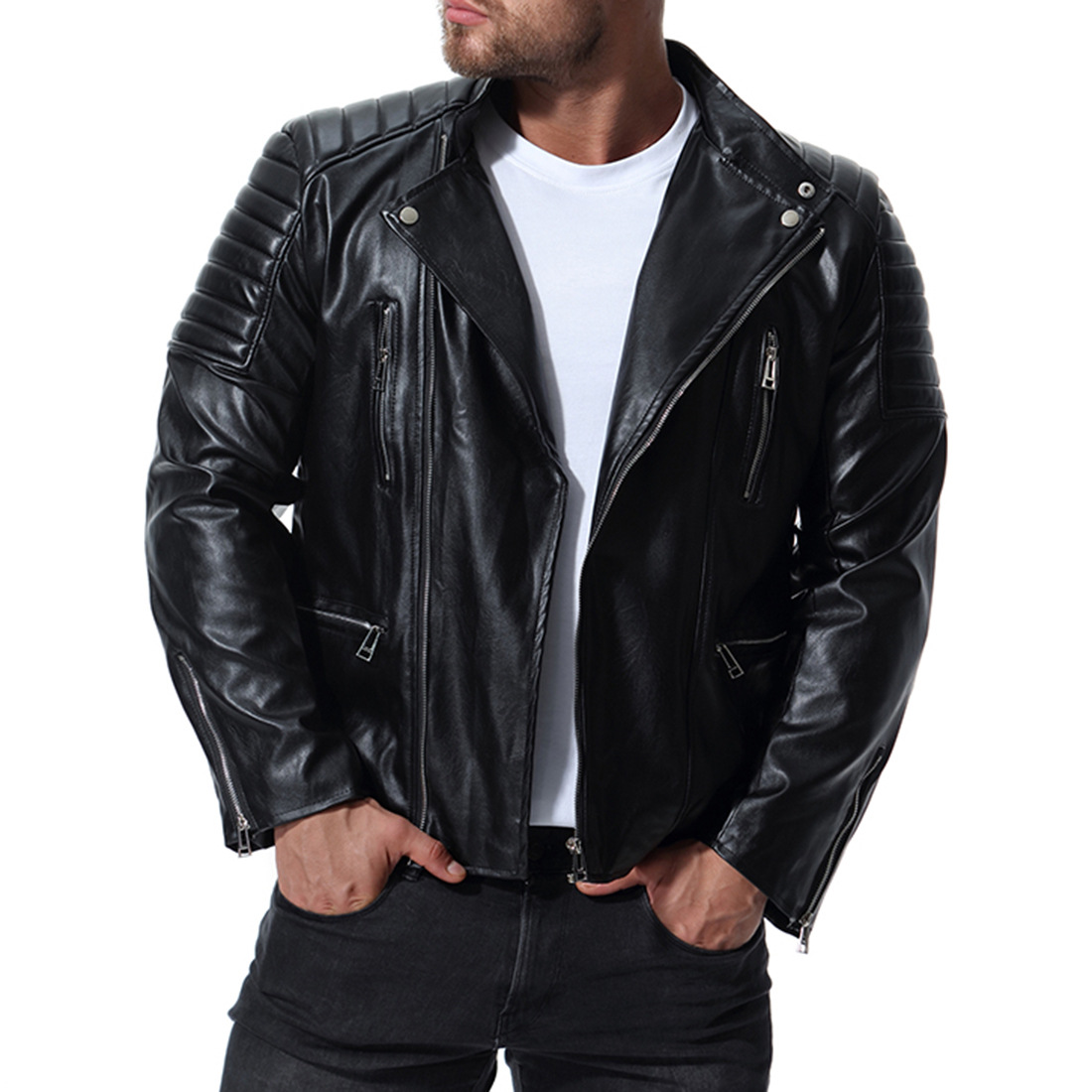 New Men's high-grade Leather Motorcycle bike Jackets Slim Fit Dropshipping Jacket Casual zipper top Coats Mens Brand Clothing