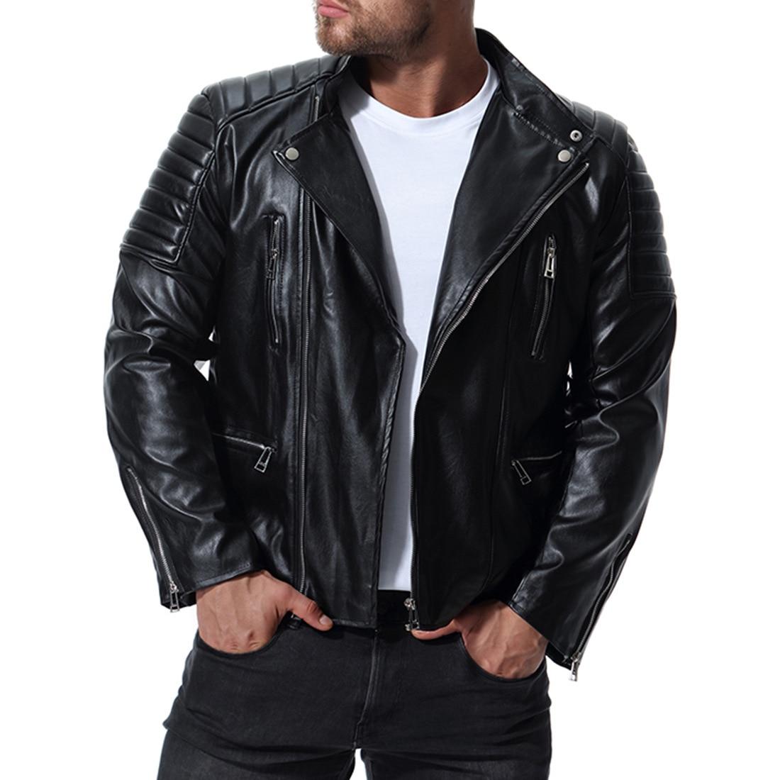 Новая мужская Высококачественная Кожаная Мотоциклетная велосипедные куртки приталенная куртка дропшиппинг Повседневная Верхняя одежда н...