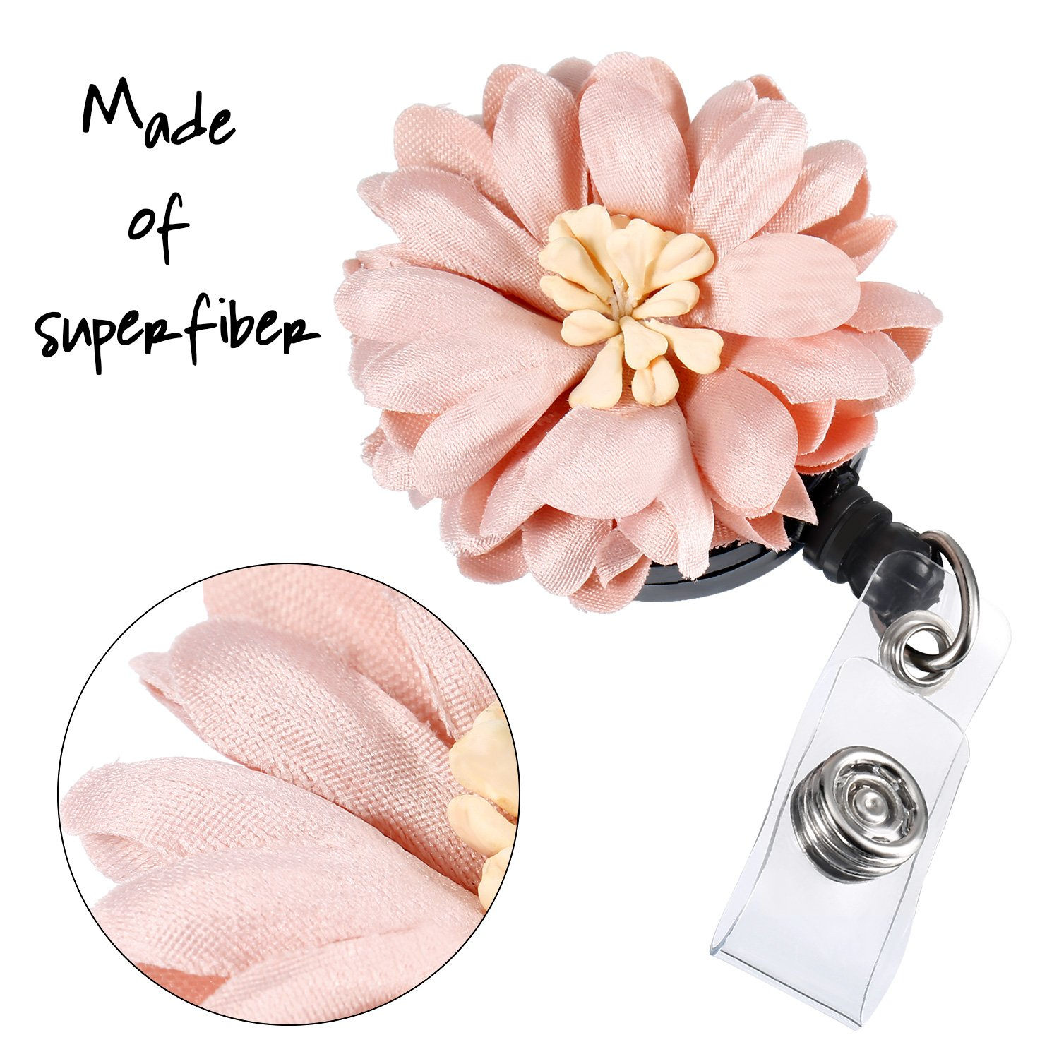 10 Pieces Daisy Retractable Badge Holder with Alligator Clip, Badge Clips ID Badge Reel Clip on Card Holders