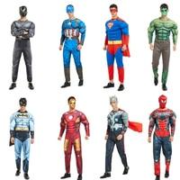 Superhero Costume Cosplay Men Captain America Superman Batman Spider Boy Iron Hulk Muscle Costume Halloween Costume Adult