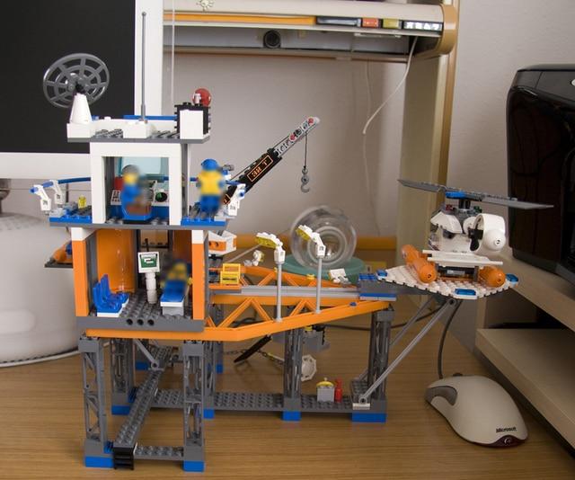 492pcs Lepin 02070 Compatible with Lego 4210 City Deep Sea Drilling Coast Guard Boat Helicopter Building Blocks PLATFORM Bricks 5