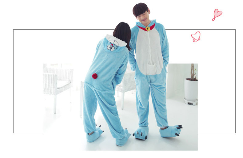 Japenese anime Doraemon cosplay pajamas costume man and women Flannel home dress Couples cartoon sleeper