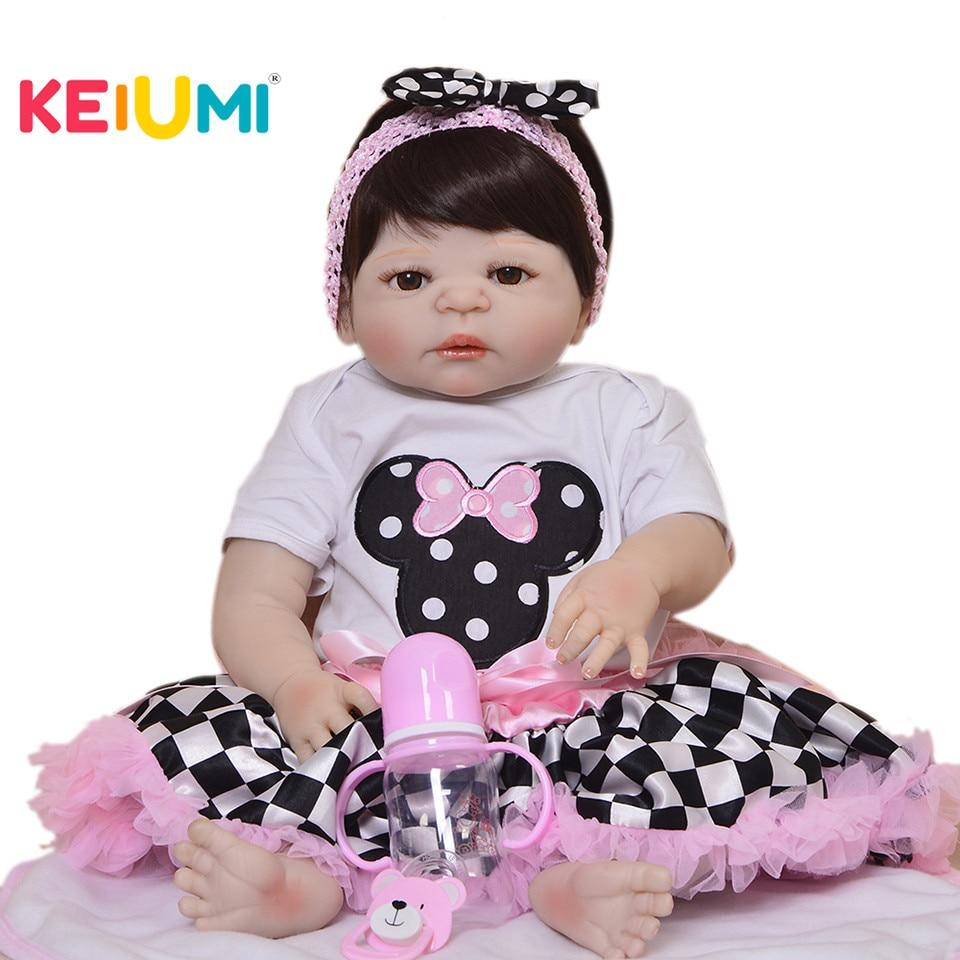 Vendita calda 23 Inch Ragazze Compagno di Giochi Realistico Reborn Baby Doll Full Body In Vinile Del Silicone di Modo 2018 Regalo di Giorno dei bambini i bambini Giocattolo