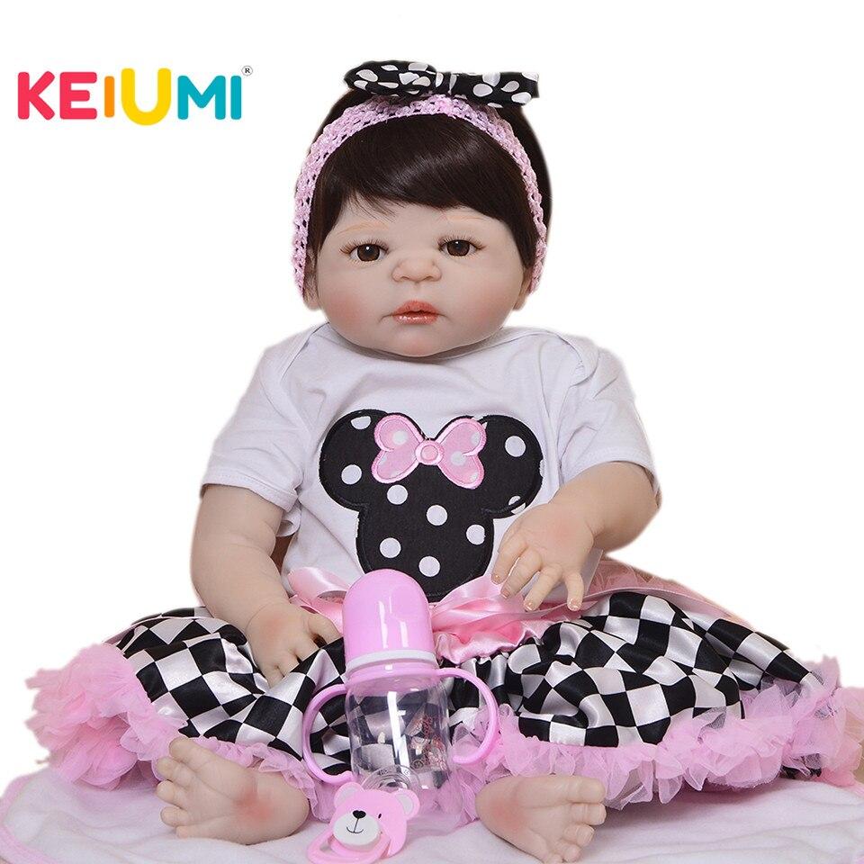 Vendita calda 23 pollice Ragazze Compagno di Giochi Realistico Reborn Baby Doll Full Body In Vinile Del Silicone di Modo 2018 Regalo di Giorno dei bambini i bambini Giocattolo