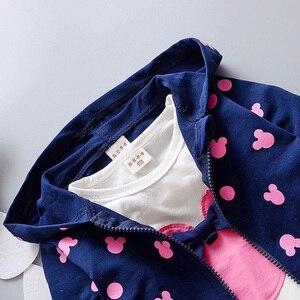 Image 4 - 2020 neue kinder anzug mädchen Minnie anzug herbst und winter kinder kleidung anzug/Mit Kapuze Jacke + T shirt + hose/3 stücke