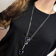 Elegant Double Layer Blue Crystal Long Necklace & Pendant