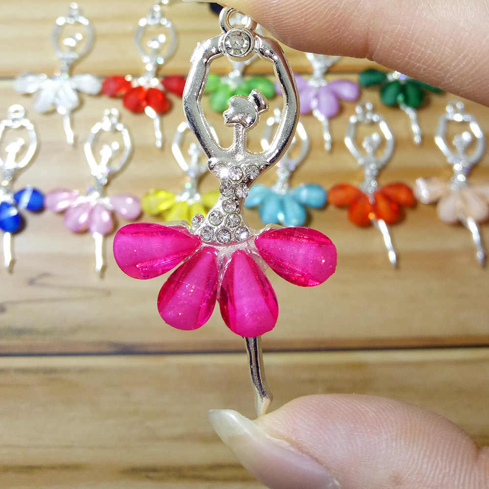 Fashion Creative Ballet Girl Pendant Multi Color Crystal Princess Dance girl Charm for Jewelry making Accessories
