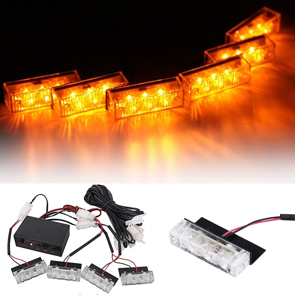 12V Vehicle Car Front Deck Grille LED Strobe Flash Light Police Emergency Hazard Warning Strobe Lamp Daytime Running Lights