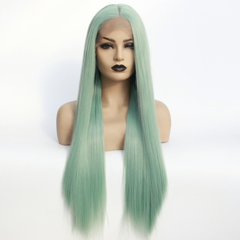 Mint Green Wigs Long Half Hand Tied Synthetic Wig Natural Straight Glueless Wigs for Women Heat