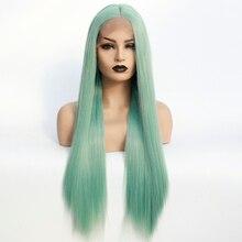 Синтетические длинные парики мятно зеленого цвета, накладные волосы на половину руки, Натуральные Прямые парики без клея для женщин, Термостойкое волокно