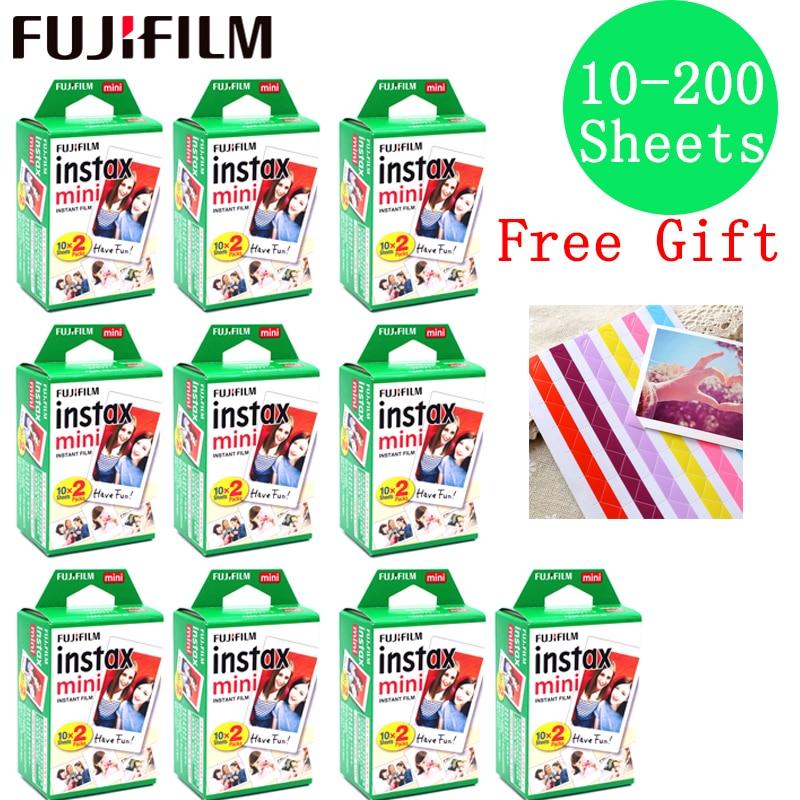 10-200 sheets Fujifilm Instax Mini Film White edge 10 20 40 60 80 100 200 Sheets For FUJI Instant instax mini 8 9 camera Photo