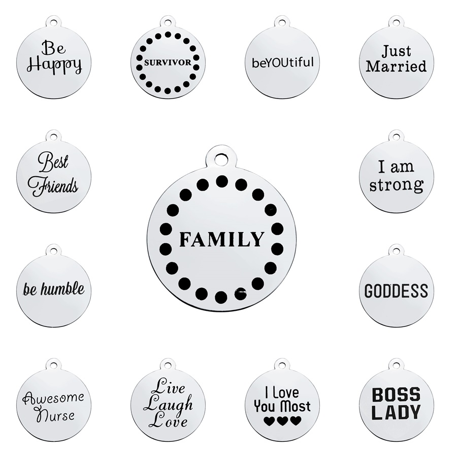 Defeedback Questions About Glowcat 24 Styles Sweet Words Family Charms Anium Steel Letter Charms Round Laser Cut Pendants Diy Dangle Jewelry Making