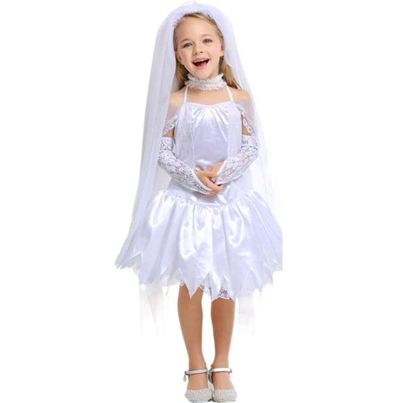 Deluxe Girls Bride Costume Halloween Kids Party Cosplay Clothing