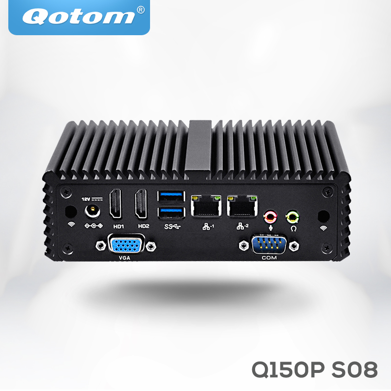 Qotom Tiny Computer Q150P Celeron Quad Core N3160 Up To 2.08 GHz, Fanless Support AES-NI Linux Pfsense As Firewall Router