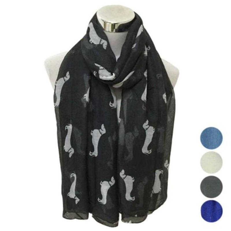 Lady Womens Long Cute Dog Print   Scarf     Wraps   Shawl Soft palatine women's   scarves   handkerchief hijab   scarf   40MA06