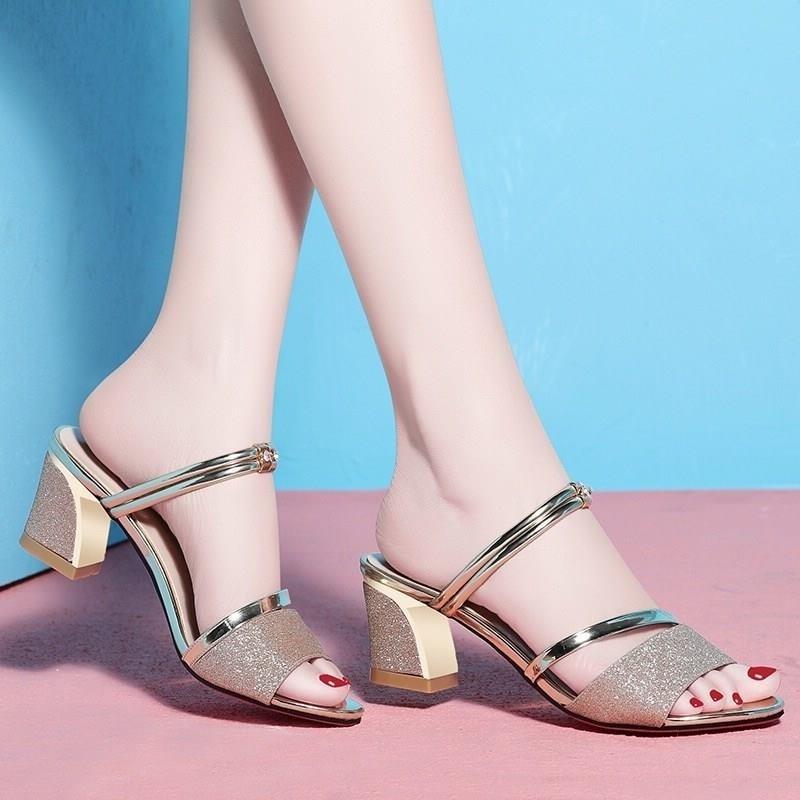 De 2019 Zapatos Abierta Sandalias Punta Tacones Mujer Bling Concisa Verano Elegante IE2DH9