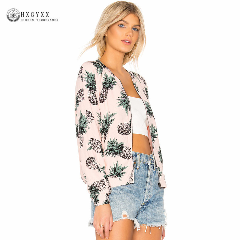Harajuku   Jacket   Women Clothes Pineapple Print Zipper Short Coat Summer Slim Bomber   Jacket     Basic   Streetwear Casual Outerwear B203
