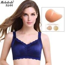 ซิลิโคน Bra Bra สีฟ้ารูปแบบนมปลอม Mastectomy Bras Breast เทียม Boobs ปลอมกระเป๋า Bra ชุดชั้นในสำหรับสุภาพสตรีมะเร็ง D40