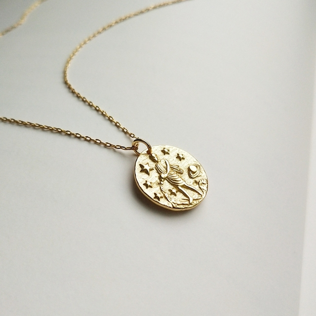 925 sterling silver constellation necklace gold round baroque constellation girl