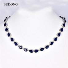 BUDONG Fashion Waterdrop Crystal Silver Color AAA+ Chain Necklace for Women Red/Blue Cubic Zirconia Wedding Jewelry XUP090