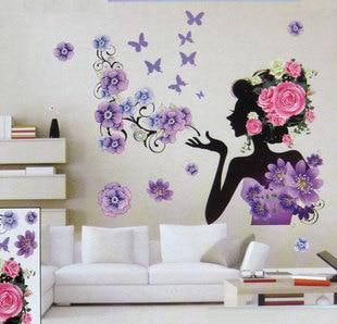 Free shipping 3D three dimensional crystal Flower Fairy wall art ...
