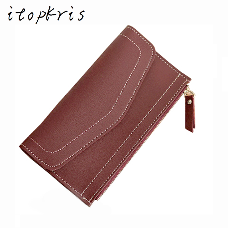 Itopkris Leather Long Envelope Clutch Wallet For Women Girl Solid Hasp Cover Female Wallet Card Holder Coin Pocket Money Purse casual weaving design card holder handbag hasp wallet for women