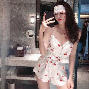 Image 2 - 2019 sommer Neue Frauen Pyjamas Sets mit Shorts Sexy Pyjama Satin Blume Print Nachtwäsche Seide Negligé Nachtwäsche Pyjama