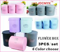 3PCS Set Good Quanlity Flowers Box Round Box Cardboard Boxes Gift Packing 2017 Hot Sell Gift