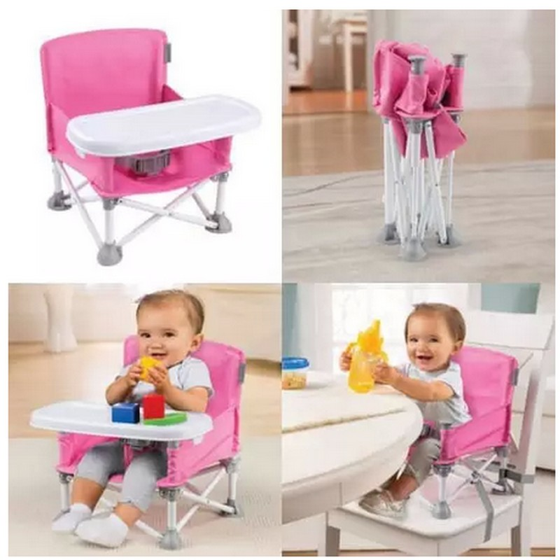 c4d71862fa4 portable baby feed chair folding Baby Booster Seat Lounge with Tray shoulder  carrying bag Infant Safety Belt Harness High Chair