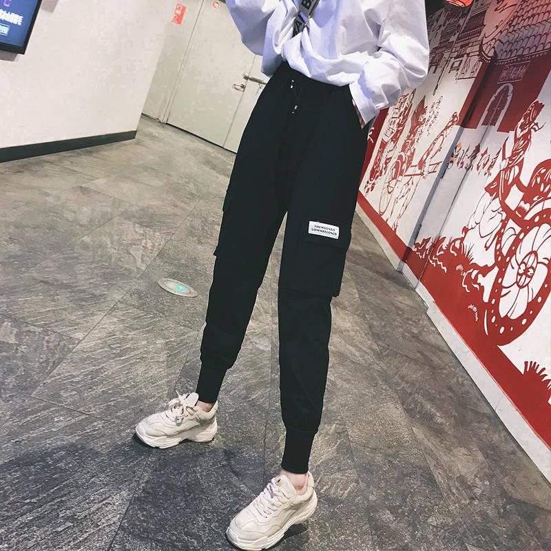Cargo   Pants   Women 2019 Harajuku   Pants   Casual   Capris   Elastic High Waist Ladies Trousers Streetwear Black   Pants   Zipper Pockets