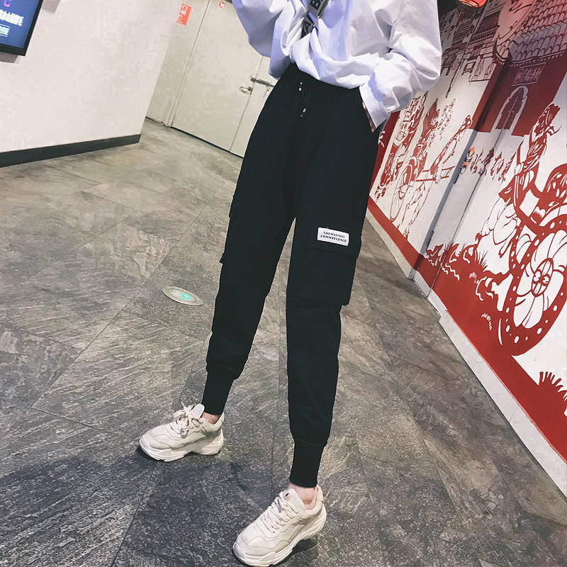 Harajuku Casual Black   Pants     Capris   Elastic High Waist Ladies Trousers Streetwear Cargo   Pants   Women Zipper Pockets