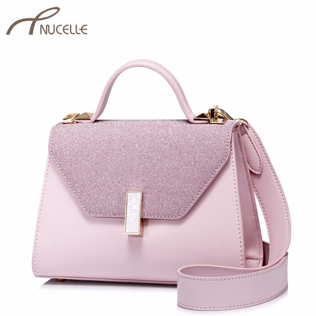 f42ff1d54145 NUCELLE Brand Women s Leather Handbags Ladies Fashion Elegant Messenger  Tote Purse Female Patchwork Flap Leisure Crossbody Bags