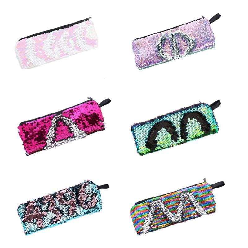 Reversible Sequin Makeup Pouch Cosmetic Bag Zipper Pen Pencil Case Storage Purse
