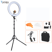 Tycipy 18 240PCS LED Ring Light Photo Lamp Bi color Video Studio Camera Adjustable Rechargeable+Battery+Light Stand