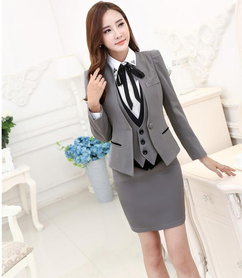 plus size autumn winter formal professional business suits 3 pieces jackets skirt vest. Black Bedroom Furniture Sets. Home Design Ideas