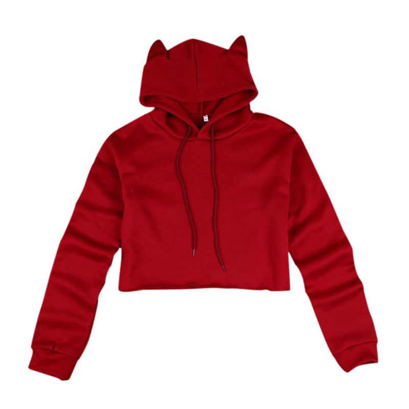 265f9499a04 Outdoor Sport Women/ Teen/Girls Cute Cat Ear Breathable Crop Top Hoodies  Long Sleeve Pullover -in Trainning & Exercise Sweaters from Sports &  Entertainment ...