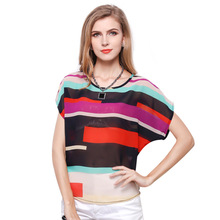 Большой Размер Женщин Радуга Цветные Полосы Битой Рубашка Свободные Короткими рукавами Рубашки Нерегулярные Красочный Полосатый Шифона Рубашку 9007