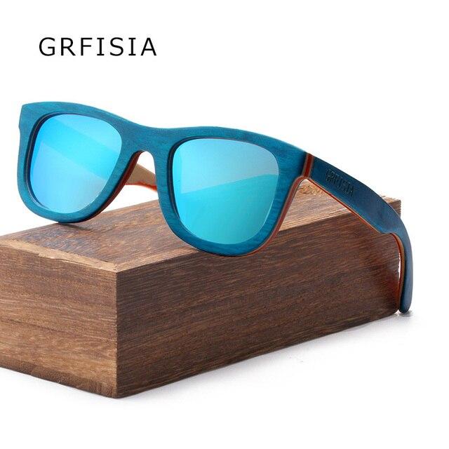7b3d4c941e74 GRFISIA Marke Platz Holz Sonnenbrille Für Frauen Polarisierte Vintage  Fahren Gläser UV400 Brille 2018 Brillen Damen Shades G522