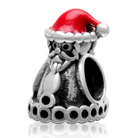 Fit for Pandora Bracelets Red Enamel Santa Claus Beads Original 925 sterling silver Charms DIY Jewelry