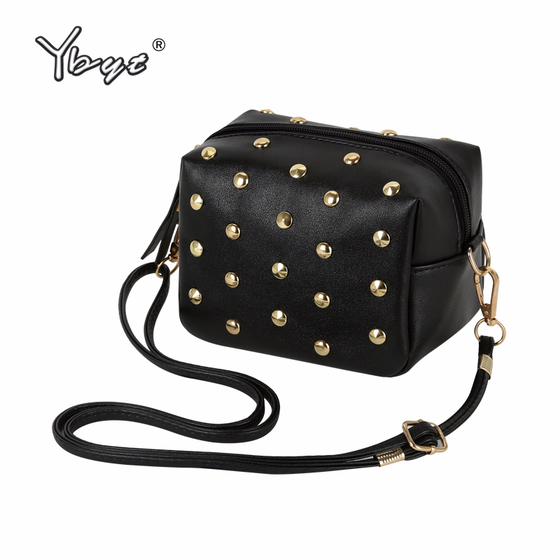 купить YBYT brand 2018 new mini simple rivet PU leather women casual fashion shoulder crossbody bag hotsale elegant ladies evening bags по цене 339.31 рублей