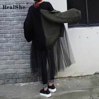 RealShe 2019 Sweater Women Long Sleeve Patchwork Loose Long Sweater Dress Ladies Autumn Winter Casual Knitted Sweaters Women Top