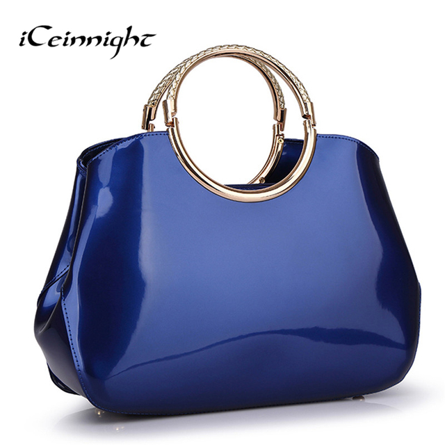 Patent pu leather handbags for women shell blue shoulder bags red elegant solid vintage women messenger bags bolsas femininas