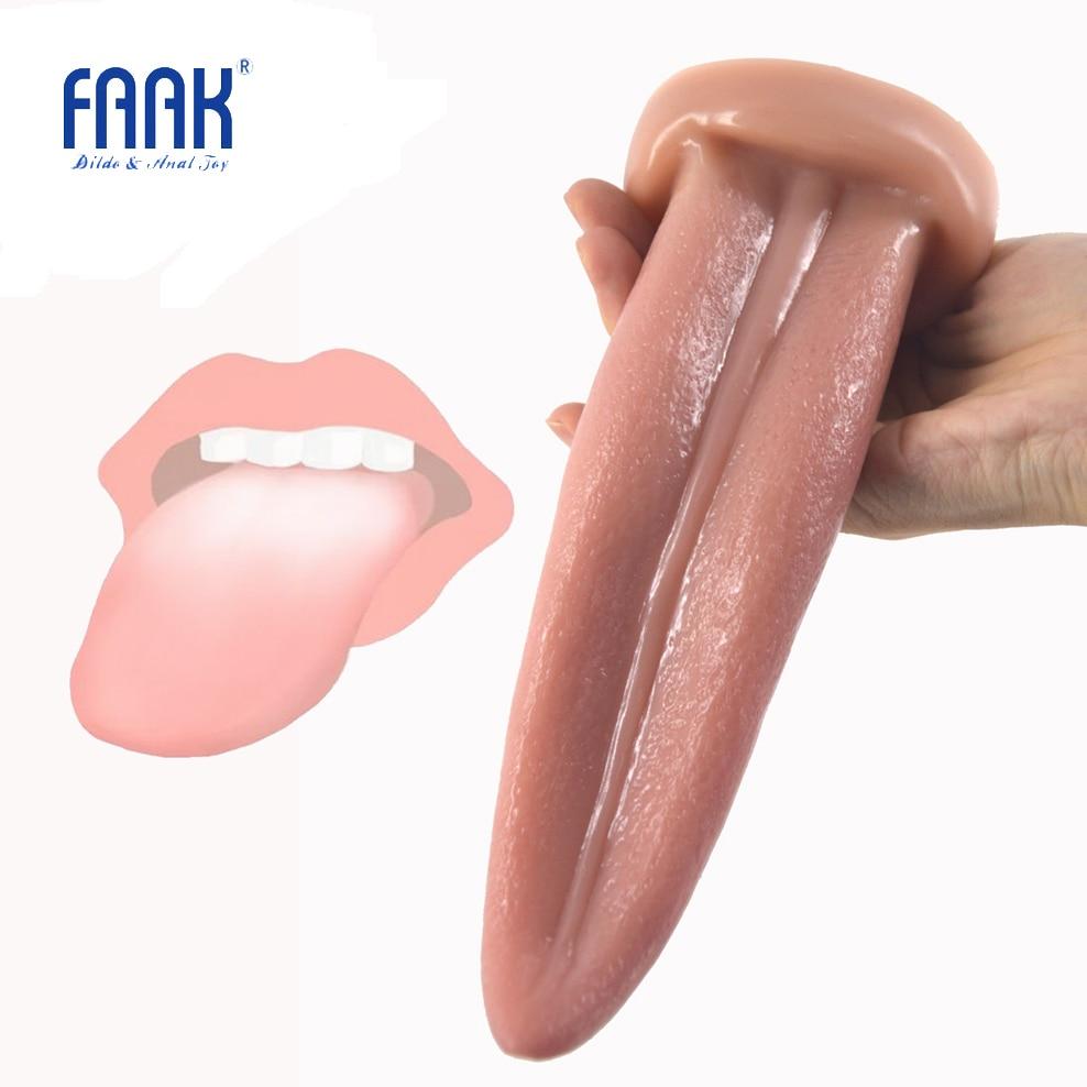 FAAK língua realista Anal plugue butt plug g-spot estimular a pele cor brinquedos sexuais sexo oral sexo erótico produtos superfície áspera loja