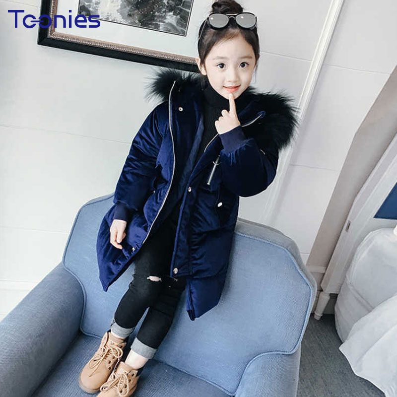 2018 Winter Girls Coat Long Children Down Jacket Warm Cotton Outerwear Thick Hooded Kids Coats High Quality Costume Girl Clothes korean baby girls parkas 2017 winter children clothing thick outerwear casual coats kids clothes thicken cotton padded warm coat