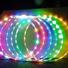 7 kleur Change LED Sport Hoops Loose gewicht fitness hoepel apparatuur Wasit TrainYoga Cirkel 90CM Knipperende bodybuilding Gymnastiek(China)