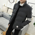New 2016 winter fashion stripe and plaid print cotton-padded jacket men thickening warm parka men's clothing size m-5xl MF15