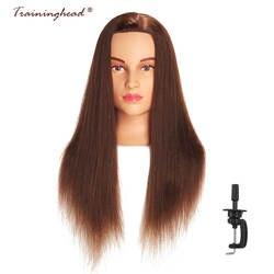 Traininghead 24-26 афро манекен головы 100% человеческих волос парикмахер Обучение Кукла начальник манекена косметологии головка для